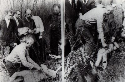 Chikatilo showing the police where he hid the body of a young woman.